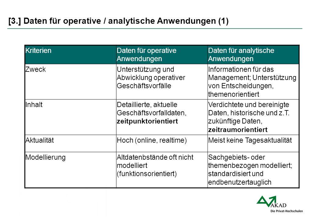 [3.] Daten für operative / analytische Anwendungen (1)